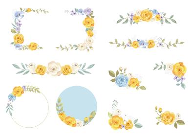 黄色のバラ 飾り枠