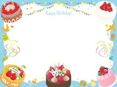 お誕生日ケーキやクラッカーやフラッグのフレーム