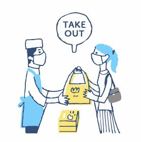 テイクアウトで食べ物を購入する女性