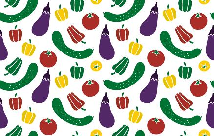 手描き風 夏野菜のシームレスパターン
