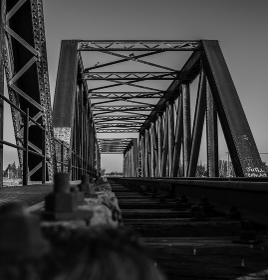 perspective of bridge and abandoned train tracks , Tunuyán, Mendoza Province, Argentina