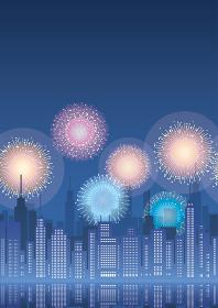 大都市と花火のシームレスな背景イラスト テキストスペース付き