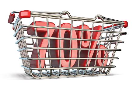 Steel shopping basket 70 PERCENT sign 3D
