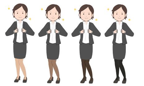 輝くOL ショートヘア スカート(線無し)