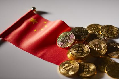中国国旗とビットコイン