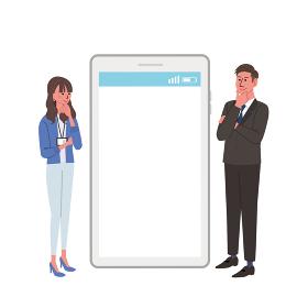 ITコミュニケーション ビジネスコンセプト スマートフォンとビジネスマンのイラスト