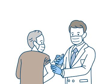 注射 コロナワクチン 予防接種 医者 年配の男性 シニア 高齢者 イラスト素材