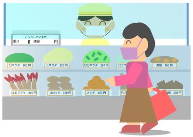 飛沫防止パネルを設置して感染予防対策をしているデパ地下の惣菜売り場で買い物をする客と店員