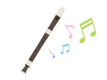 楽器のリコーダーを演奏するイラスト