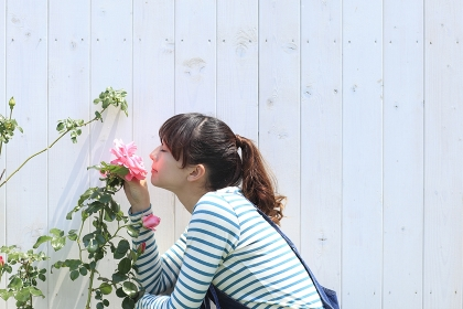 バラの香りをかぐ女性