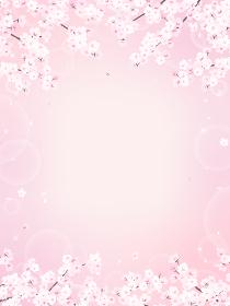 桜とキラキラピンクの背景素材(縦長)