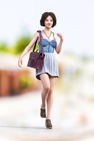ボブヘアの笑顔の女の子がデニム生地のキャミソールでスカートを履いて肩からバッグをかけて歩いている