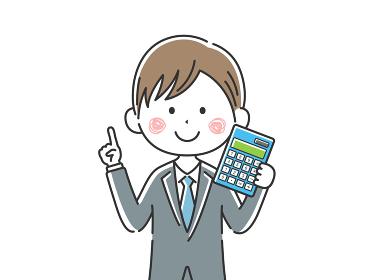 電卓を持った日本人ビジネスマンのイラスト