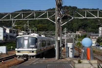 東海道線221系普通電車と北緯35度線碑