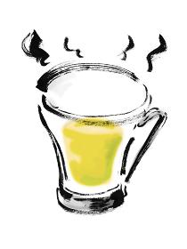 手描きのグラスに入ったホット白ワインのイラスト素材