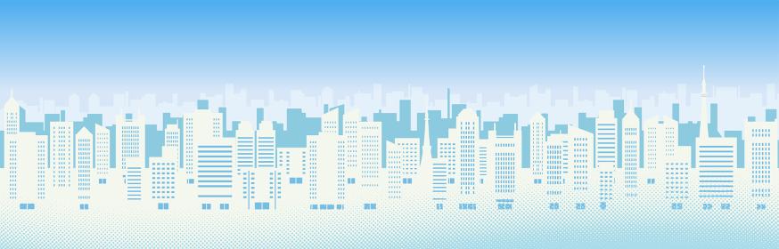 ビルのある都市風景のイラスト(昼)