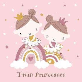 双子のプリンセスが虹の上に座って微笑んでいるイラスト
