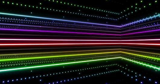 ネオン 光 蛍光灯 ライン 線 イルミネーション カラフル 3D イラスト 背景 バックグラウンド