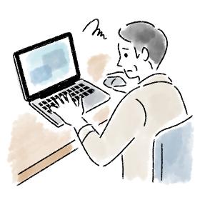 パソコン 男性 ミドルエイジ 困っている 水彩 手描き