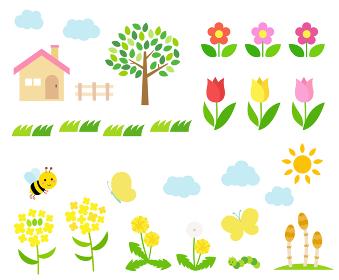春の風景イラスト アイコンセット