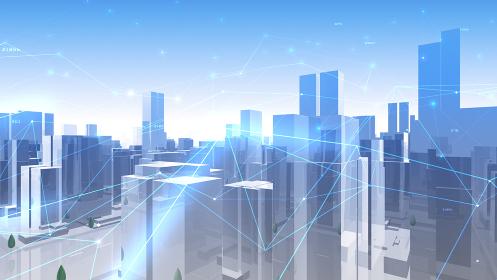 デジタル 都市 街 ネットワーク データ テクノロジー 通信 ビル 建物 ビジネス 3D イラスト