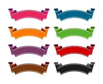 装飾リボン バナー セット (文字スペース・テキストスペース)