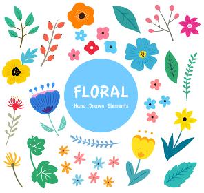 花と葉っぱのイラストセット 春の植物による手描きテイスト