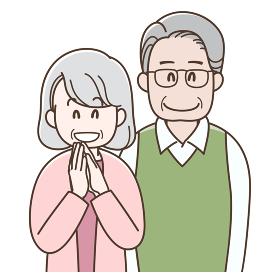 並んで微笑む老夫婦のイラスト