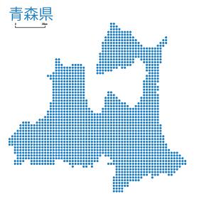 青森県の詳細地図東北地方|都道府県別ドット表現の地図のイラスト ベクターデータ
