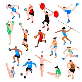 Sport Isometric Set. Sport isometric set with sportsmen of ball olympic games throwing competition athletics isolated vector illustration