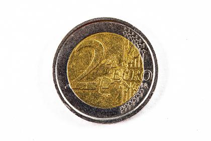 photograph of a two euro coin