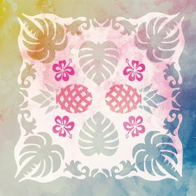 水彩画風ハワイアンキルトのパターン ヤシとモンステラとパイナップル背景イラスト|夏のイメージ