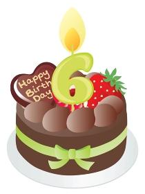 お誕生日のチョコレートケーキと6歳の数字のキャンドル