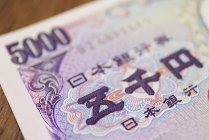 日本紙幣 五千円札 マクロ撮影