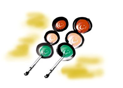 和風手描きイラスト素材 和菓子 3色だんご, 三色団子