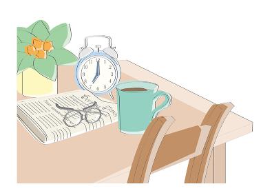 モーニング風景 テーブルにコーヒー、新聞、眼鏡