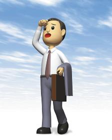 手で日差しをよけるビジネスマン