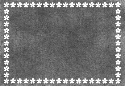 鉛筆で黒く塗りつぶした背景と白い桜 モノクロフレーム