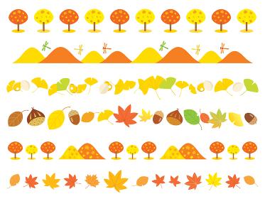 秋の紅葉や山やイチョウやドングリのラインイラスト