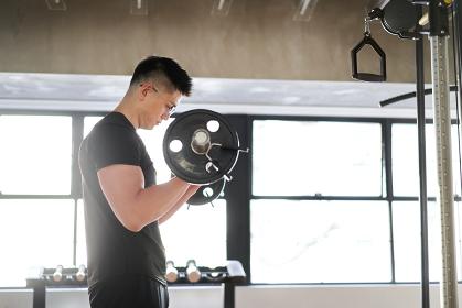 トレーニングジムでバーベルカールをするアジア人男性