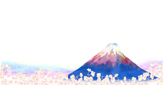 水彩で描いた富士山のイラスト