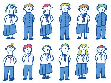 インク手描き線のカラフルイラスト)笑顔の中学生/高校生の女子生徒と男子生徒・全身