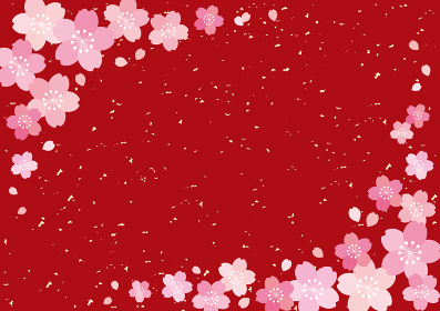 和風 桜 POP チラシ フレーム 背景 ベクター 11