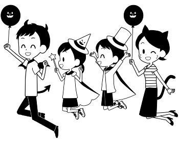 ハロウィンの仮装でジャンプする家族
