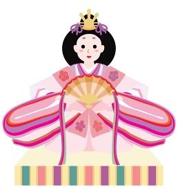 ひな祭りのピンクの女雛の雛人形