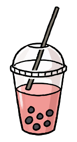 【手描きベクター食べ物イラスト素材】タピオカ入り苺ミルクのイラスト【縁日・お祭り・屋台の食べ物】