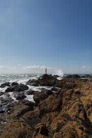 海岸で海を見る日本人男性