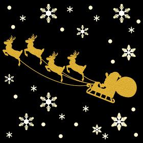 クリスマス サンタクロースとトナカイのソリ シルエット