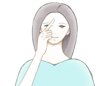 額を指さす若い女性のイラスト