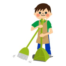 家を掃除する男性